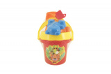 Sada na písek - kbelík, sítko, lopatka, 2 bábovky plast asst 4 barvy v síťce od 18 měsíců Teddies