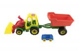 Traktor nakladač s valníkem plast 64cm asst 3 barvy v síťce Teddies