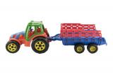 Traktor s vlekem plast 75cm asst 2 barvy v síťce Teddies