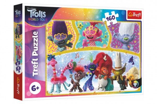 Puzzle Trolls world tour Šťastný svět Trollů 41x27,5cm 160 dílků v krabici 29x19x4cm Trefl
