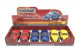 Auto Kinsmart Volkswagen Classical Beetle kov 17cm volný chod asst 3 barvy 6ks v boxu Teddies