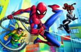 Minipuzzle 54 dílků Spidermanův čas 4 druhy v krabičce 9x6,5x4cm 40ks v boxu Trefl
