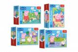 Minipuzzle 54 dílků Šťastný den Prasátka Peppy/Peppa Pig 4 druhy v krabičce 9x6,5x3,5cm 40ks v boxu