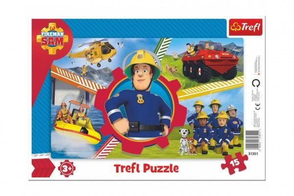 Puzzle deskové Požárník Sam 33x23cm 15 dílků Trefl