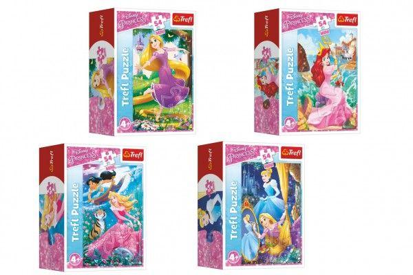 Minipuzzle 54 dílků Dobrodružný svět princezen 4 druhy v krabičce 9x6,5x4cm 40ks v boxu Trefl