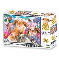 Puzzle 3D Králík selfie 63 dílků