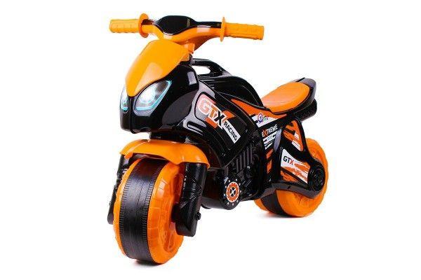 Odrážedlo motorka oranžovo-černá plast v sáčku 35x53x74cm 24m+ Teddies