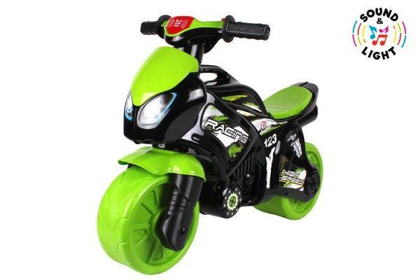 Odrážedlo motorka zeleno-černá plast na baterie se světlem se zvukem v sáčku 36x53x74cm Teddies