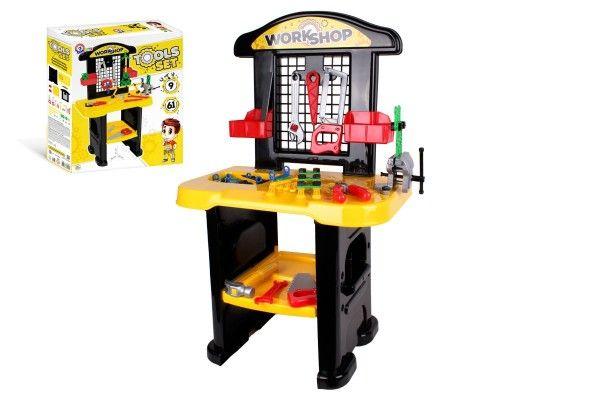 Stůl/Ponk s nářadím plast v krabici 48x57x15cm Teddies