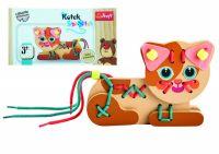 Koťátko dřevěná hračka navlékací se šňůrkami v krabičce 19x10x5cm