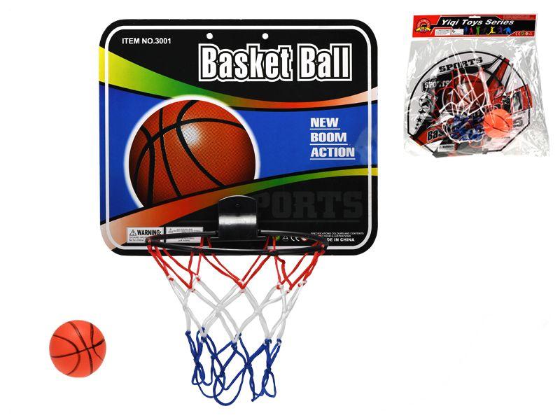 Basketbalový koš s míčem 9cm 2druhy v sáčku Mikro Trading