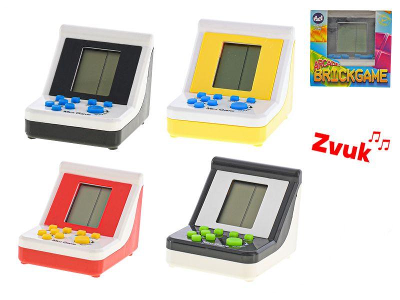 Brick game 9x7x6,5cm na baterie se zvukem 4barvy v krabičce Mikro Trading