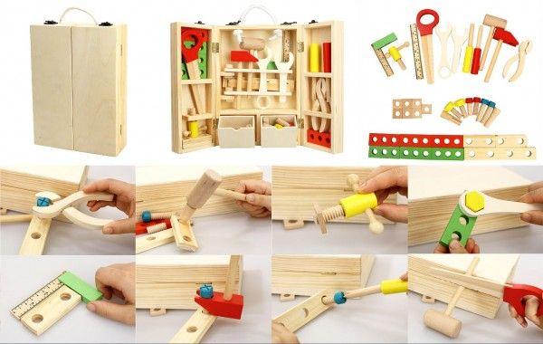 Nářadí dřevo s doplňky v dřevěném kufříku 21x30x8cm Teddies