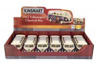 Autobus Kinsmart Volkswagen Classical kov 18cm asst 3 barvy 6ks v boxu Teddies