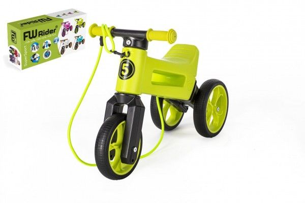 Odrážedlo FUNNY WHEELS Rider SuperSport zelené 2v1+popruh, výš. sedla 28/30cm nos 25kg 18m+ vkrab. Teddies