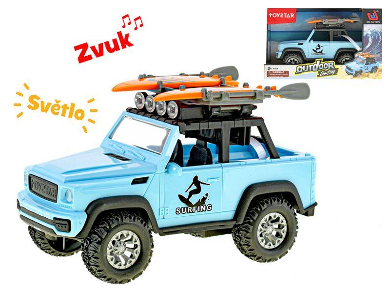 Auto terénní 21cm surfing na setrvačník na baterie se světlem a zvukem v krabičce Mikro Trading