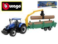 Bburago New Holland T3.315 traktor 12cm na setrvačník se dřevem v krabičce