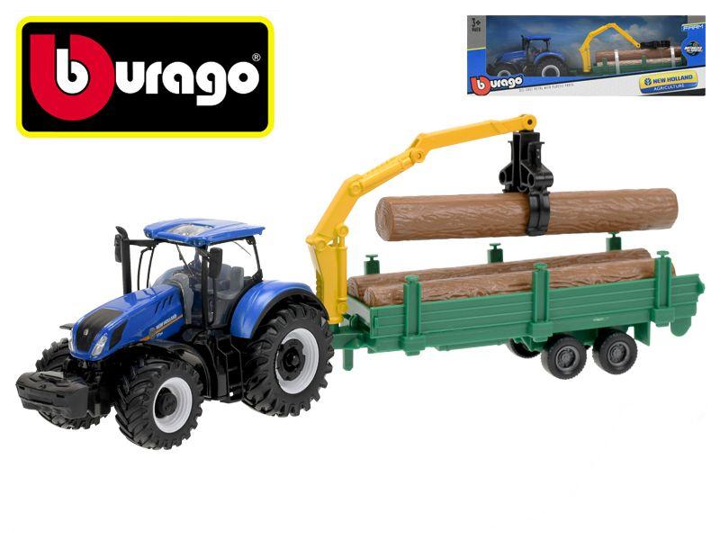 Bburago New Holland T3.315 traktor 12cm na setrvačník se dřevem v krabičce Mikro Trading