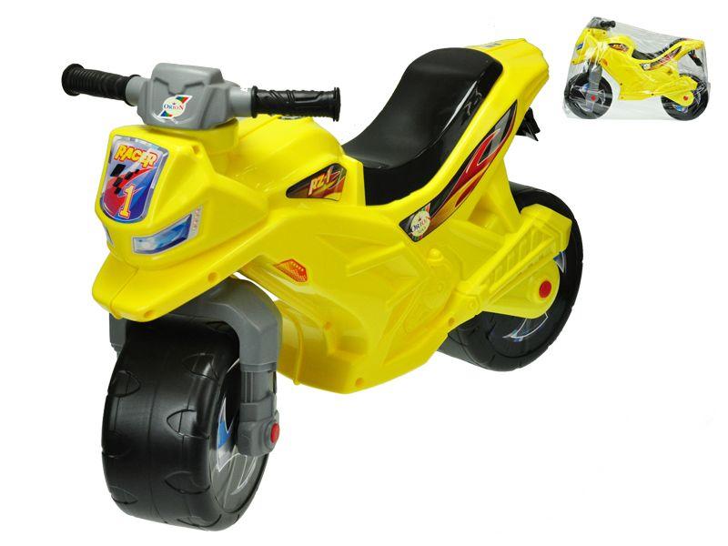Motorka odrážedlo žluté 68x48x29cm max. 30kg v sáčku Mikro Trading