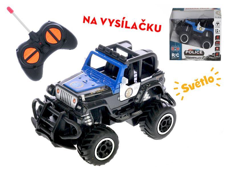 R/C auto terénní policie 13cm 27MHz plná funkce na baterie se světlem 2barvy v krabičce Mikro Trading