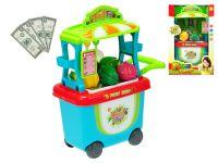 Stánek ovoce/zelenina pojízdný 23x38x16cm s doplňky v krabičce