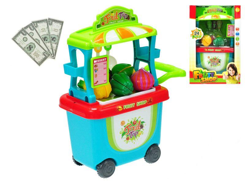Stánek ovoce/zelenina pojízdný 23x38x16cm s doplňky v krabičce Mikro Trading