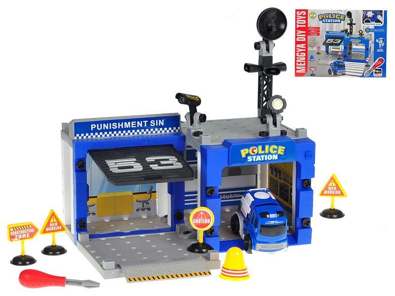 Stanice policejní šroubovací 67ks s autem 10cm na setrvačník v krabičce Mikro Trading