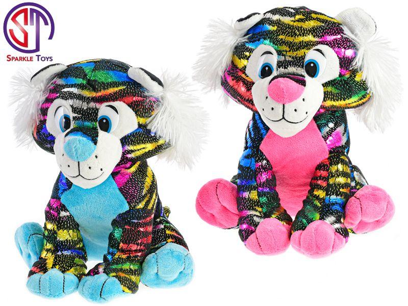 Tygr Star Sparkle plyšový barevný 24cm sedící 2barvy 0m+ v sáčku Mikro Trading