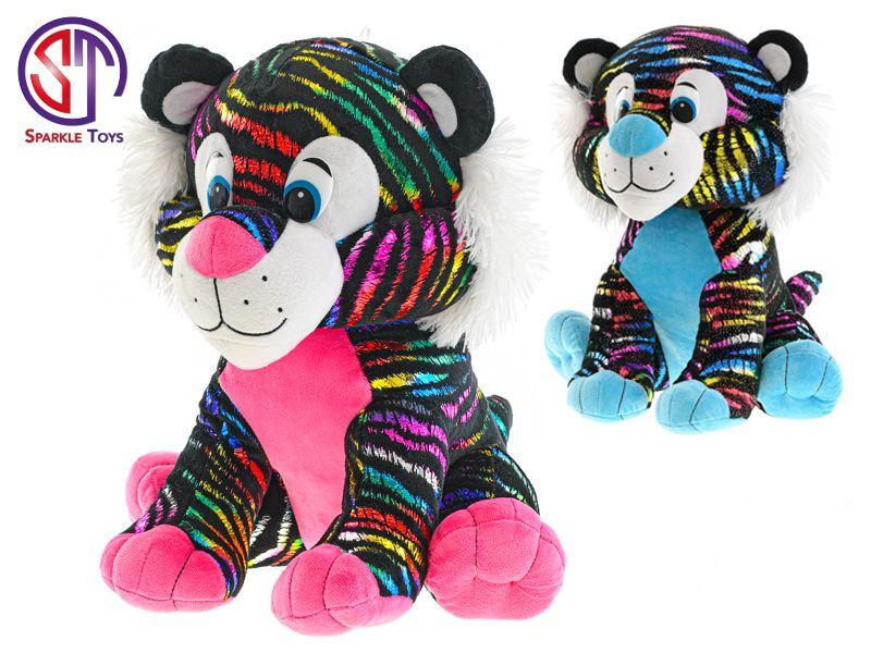 Tygr Star Sparkle plyšový barevný 35cm sedící 2barvy 0m+ v sáčku Mikro Trading