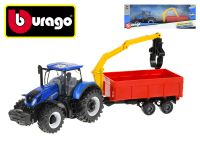 Bburago New Holland T3.315 traktor 12cm na setrvačník s přívěsem v krabičce
