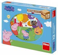 Kostky dřevěné kubus Prasátko Peppa 12ks v krabičce 22x17x4cm Dino