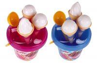 Sada na písek plast kbelík + formičky zmrzlina 2 barvy v síťce 18x28x17cm 12m+ Teddies