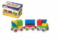 Veselý vláček/vlak dřevo 22x5x6cm v krabičce