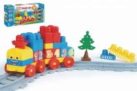 Baby Blocks vlak s kolejemi a stavebnicí plast délka dráhy 1,45m s doplňky v krabici 42x21x8cm 12m+