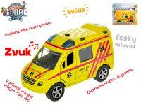 Auto ambulance CZ 11cm kov na zpětný chod na baterie česky mluvící se světlem v krabičce