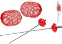 Set dětský šermířský červený kord 2ks + kryt obličeje 2ks v sáčku plast