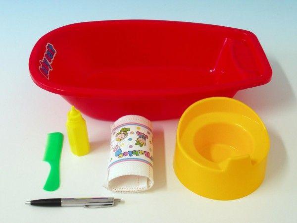 Vanička+nočník s doplňky plast 40x9,5cm asst 2 barvy vanička pro panenky Teddies