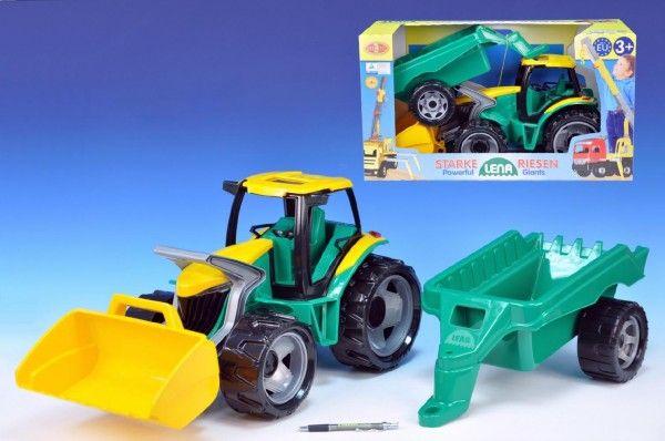 Traktor se lžící 60cm a přívěsem 45cm plast v krabici Lena