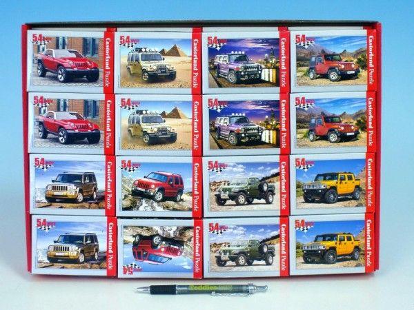 A-08521-M Minipuzzle Auta Jeep 54 dílků 16,5x11cm asst 8 druhů v krabičce 32ks v boxu Teddies