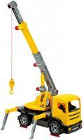 Auto jeřáb plast 70cm 2-osý žlutý v krabici Lena
