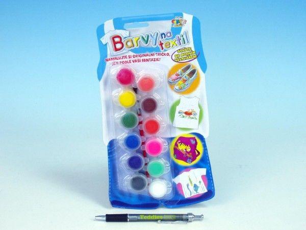 Barvy na textil + štětec 12ks na kartě SMT Creatoys