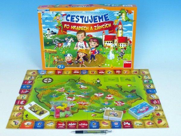 Cestujeme po hradech a zámcích společenská hra v krabici 43x30x5,5cm Dino