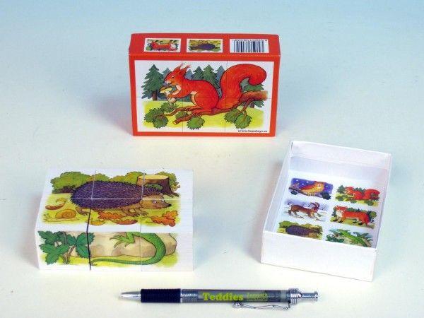 Kostky kubus Lesní zvířátka dřevo 6ks v krabičce 12,5x8,5x4cm TOPA