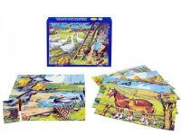Kostky kubus Zvířátka Statek dřevo 20ks v krabičce 20x16x4cm TOPA