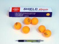 Míčky na stolní tenis SHIELD 4cm bezešvé oranžové 6ks v krabičce
