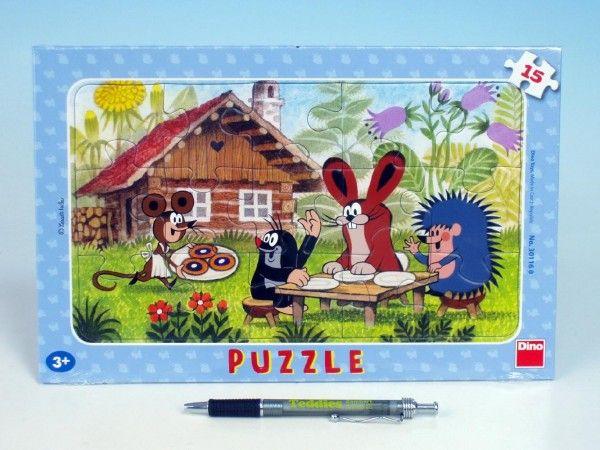 Puzzle deskové Krtek na návštěvě 29,5x19cm 15 dílků Dino