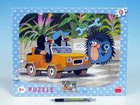 Puzzle deskové tvary Krtek a autíčko 36x28cm 12 dílků