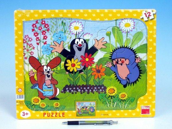 Puzzle deskové tvary Krtek zahradník 36x28cm 12 dílků Dino