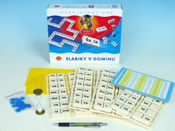 Slabiky v dominu společenská hra vzdělávací v krabici postřehová hra PEXI