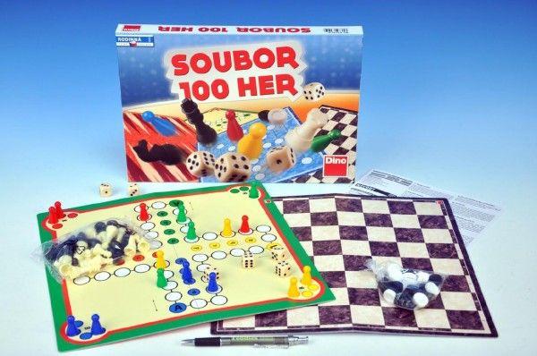 Soubor her 100 společenská hra v krabici 33x23x3,5cm Dino